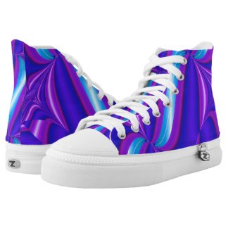 Brilliant Purple Pink Teal Abstract Printed Shoes