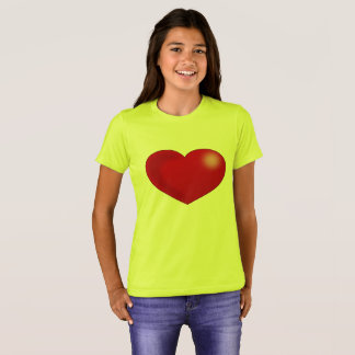 Brilliant Red Heart, Girls Yellow T-Shirt