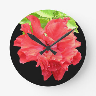 Brilliant Red Hibiscus Flower Round Clock