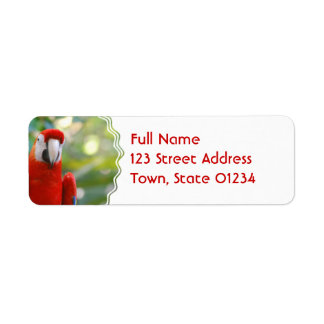 Brilliant Red Parrot Mailing Labels