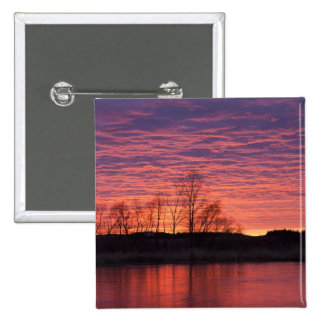 Brilliant sunset reflects into the Calamus River 15 Cm Square Badge