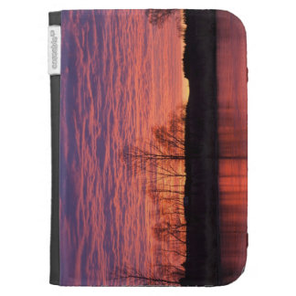 Brilliant sunset reflects into the Calamus River Kindle Folio Case