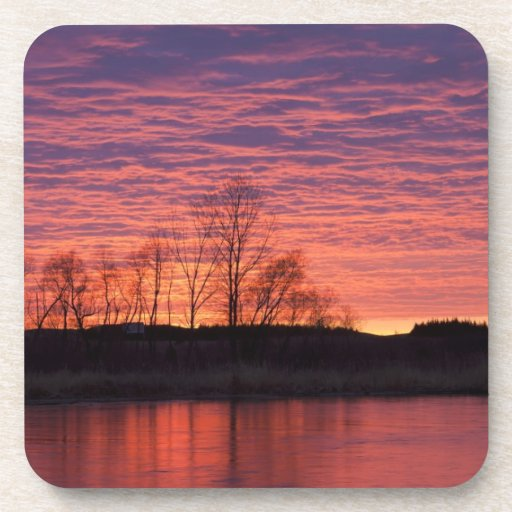 Brilliant sunset reflects into the Calamus River Drink Coasters