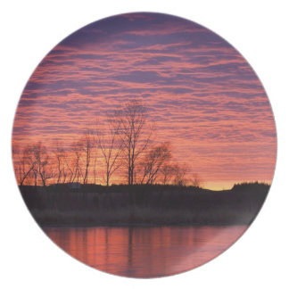 Brilliant sunset reflects into the Calamus River Dinner Plates