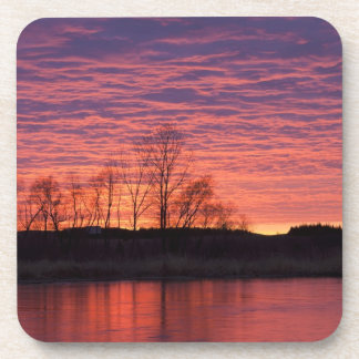 Brilliant sunset reflects into the Calamus River Drink Coaster
