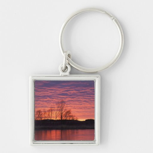 Brilliant sunset reflects into the Calamus River Keychain