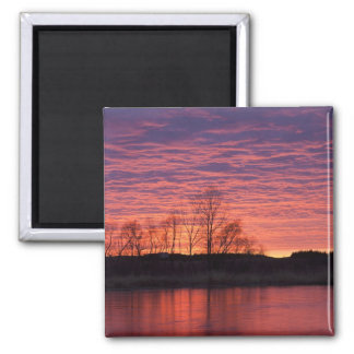 Brilliant sunset reflects into the Calamus River Square Magnet