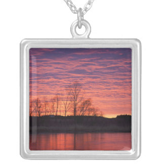 Brilliant sunset reflects into the Calamus River Personalized Necklace