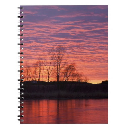 Brilliant sunset reflects into the Calamus River Note Books