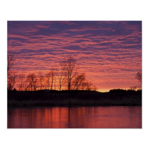 Brilliant sunset reflects into the Calamus River Poster