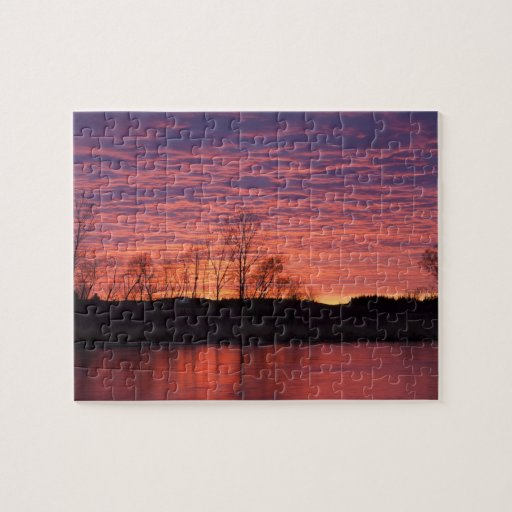 Brilliant sunset reflects into the Calamus River Puzzle