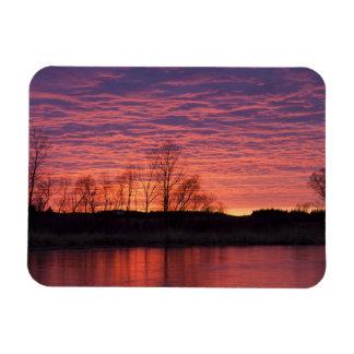 Brilliant sunset reflects into the Calamus River Rectangular Photo Magnet