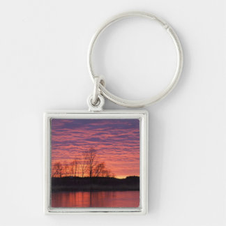 Brilliant sunset reflects into the Calamus River Silver-Colored Square Key Ring