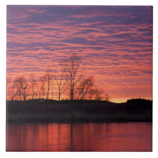 Brilliant sunset reflects into the Calamus River Large Square Tile