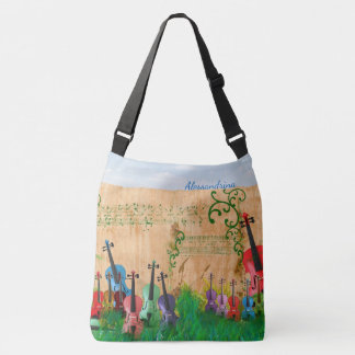 Brilliantly-Coloured Violin Garden with Name Crossbody Bag