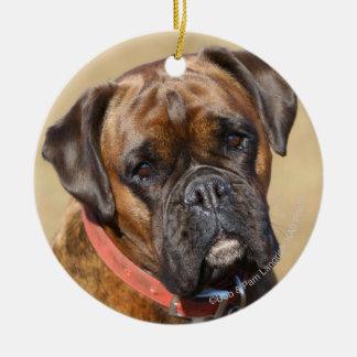 Brindle Boxer Dog Round Ceramic Decoration