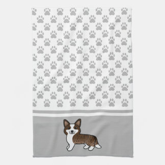 Brindle Cardigan Welsh Corgi And Dog Paws Tea Towel