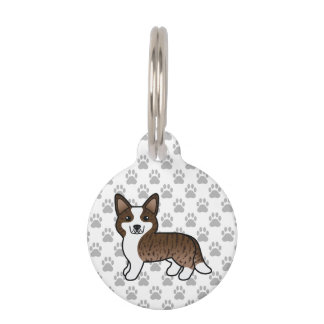 Brindle Cardigan Welsh Corgi Cartoon Dog & Info Pet ID Tag