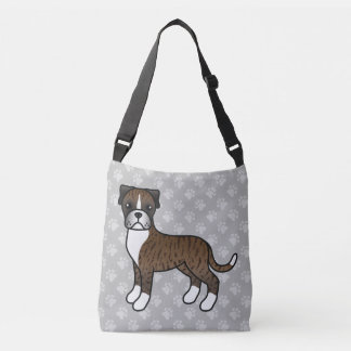 Brindle Cartoon Boxer Dog Drawing Tote Bag
