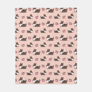 Brindle Corgi Peach Sploot Fleece Blanket