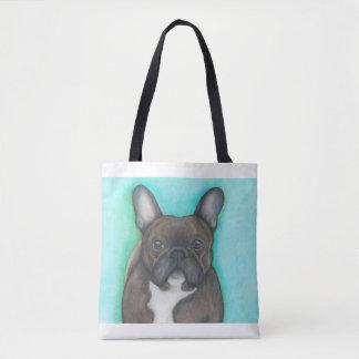 Brindle French Bulldog aqua tote bag