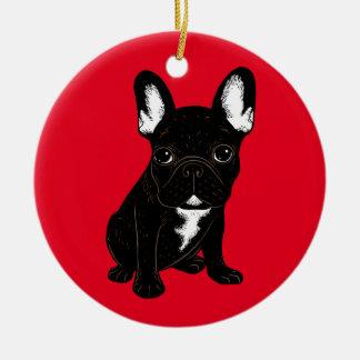 Brindle French Bulldog Ceramic Ornament