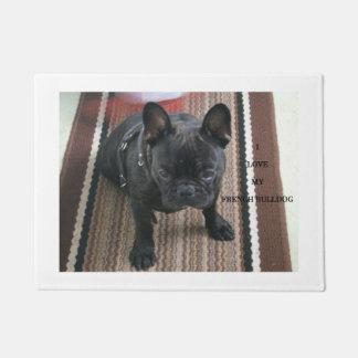 Brindle_French_Bulldog love w pic Doormat