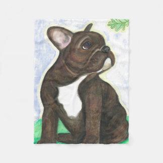Brindle French Bulldog pup fleece blanket