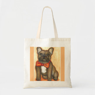 Brindle French Bulldog with bow tie tote