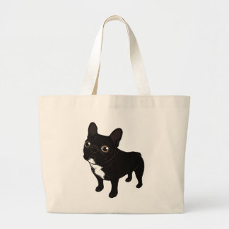 Brindle Frenchie likes to go for a walk Large Tote Bag