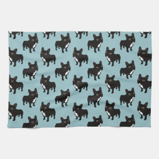 Brindle Frenchie likes to go for a walk Tea Towel