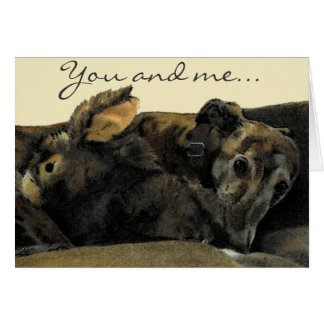 Brindle Greyhound & Bunny Valentine's Day card