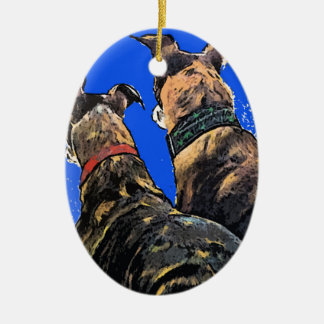 Brindle Greyhound Christmas Ornament