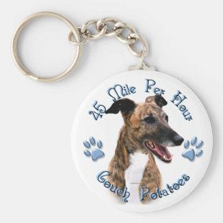 Brindle Greyhound Couch Potato Key Ring