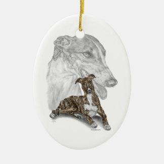 Brindle Greyhound Dog Art Christmas Ornament