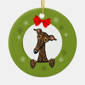 Brindle Greyhound Whippet Christmas Classic Ceramic Ornament