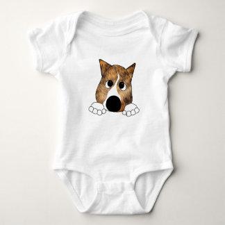 brindle peeking basenji baby bodysuit