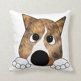 brindle peeking basenji cushion