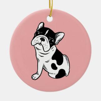 Brindle Pied Frenchie Puppy Ceramic Ornament