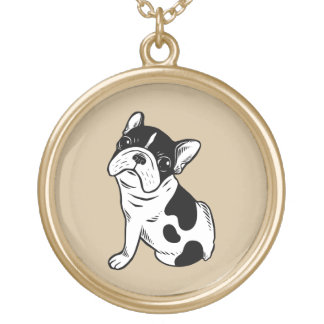 Brindle Pied Frenchie Puppy Gold Plated Necklace