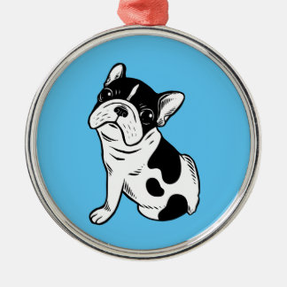 Brindle Pied Frenchie Puppy Metal Ornament