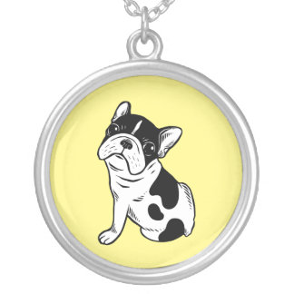 Brindle Pied Frenchie Puppy Silver Plated Necklace