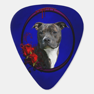Brindle pitbull with roses plectrum