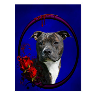 Brindle pitbull with roses postcard