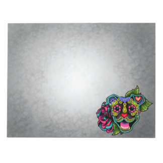 Brindle Smiling Pit Bull Day of the Dead Sugar Dog Notepad