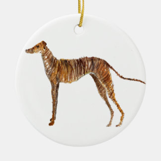 Brindle Watercolour Abstract Painting of Greyhound Round Ceramic Decoration