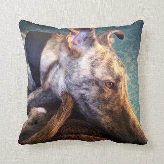 Brindled Lurcher Greyhound Cushion