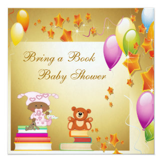 Bring a Book African American Girl Baby Shower Card