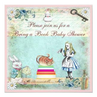 Bring a Book Alice & Cheshire Cat Baby Shower 13 Cm X 13 Cm Square Invitation Card