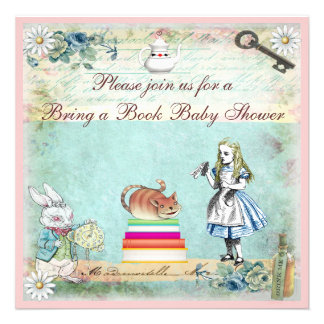 Bring a Book Alice Cheshire Cat Baby Shower Invitations